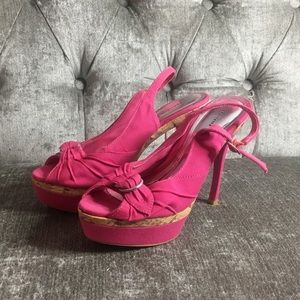 Sling back platform heels
